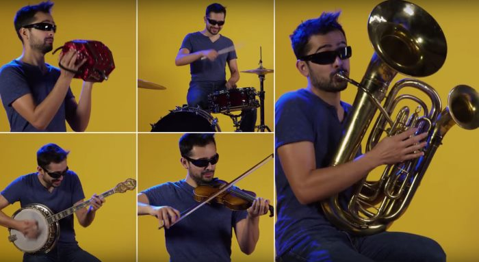 Video Insolite - 1 homme, 90 instruments