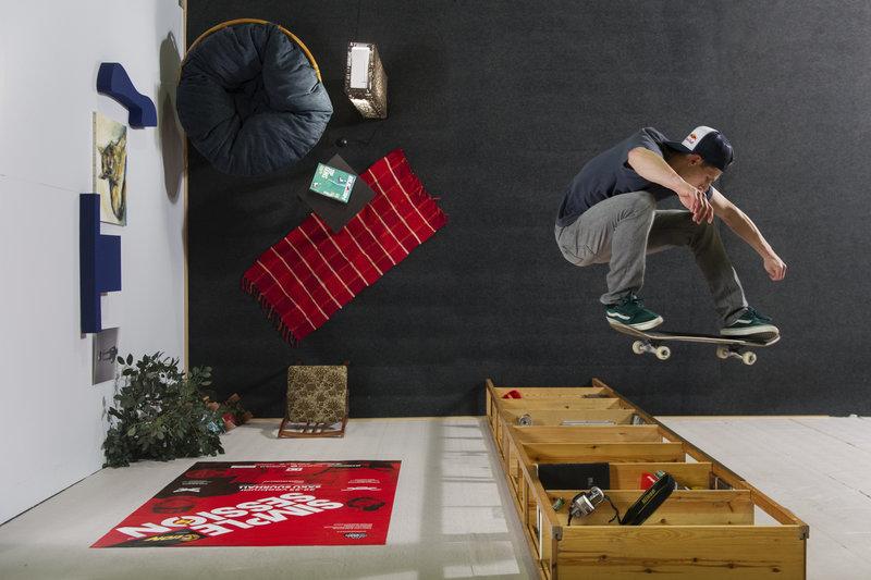 Un skateboarder en trompe-l'oeil