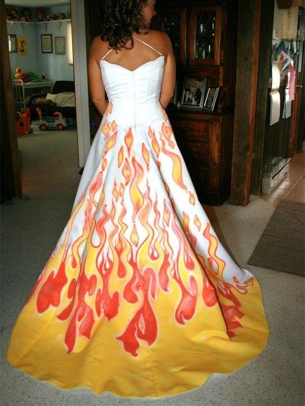 robe,mariee,flammes