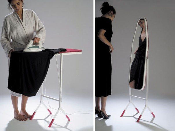 Ironing board that can double as a mirror