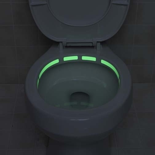 Glow in the dark toilet rim