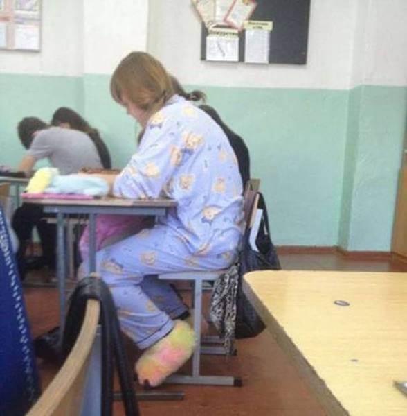 Aller en cours en pyjama